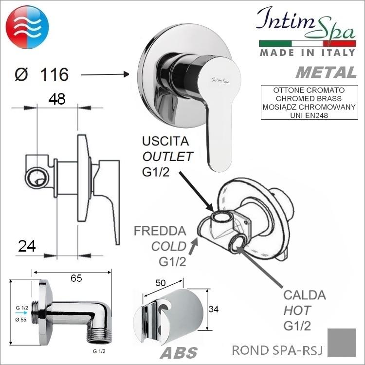 ROND2 Bidetta komplet; mieszacz, rączka/wąż 21, przył/uch. Chrom; metal/ABS.Woda z/c. IntimSPA-21RSJ