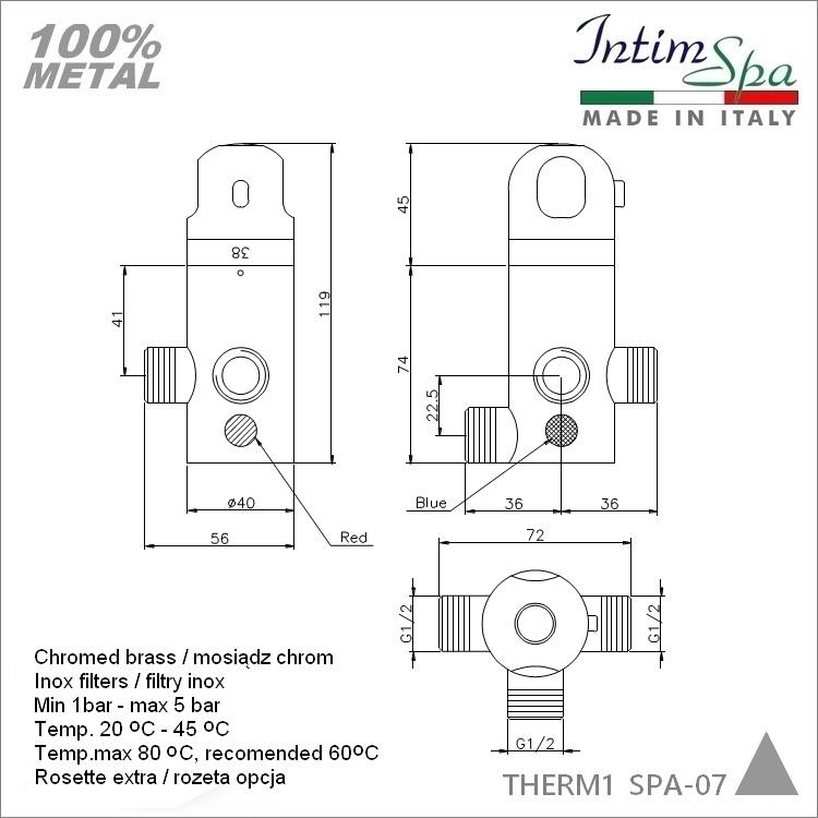 """Mieszacz THERM1 termostatyczny, podtynk. do zaworów bidetowych in.Mosiądz, chrom 3x1/2"""". IntimSPA-07"""